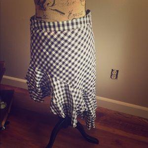 Gingham asymmetrical skirt